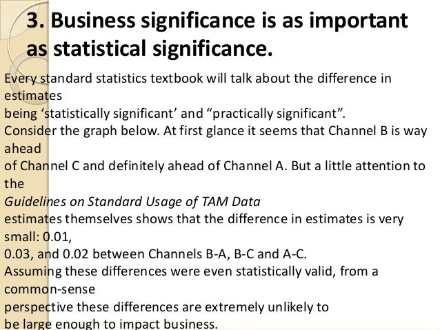 3. Business significance is as importantas statistical significance.Every standard statistics textbook will talk about the...