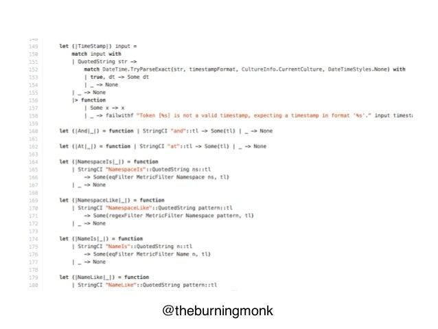 @theburningmonk type MetricTerm = Namespace | Name type Unit = | Unit type Filter = | MetricFilter of MetricTerm * (string...