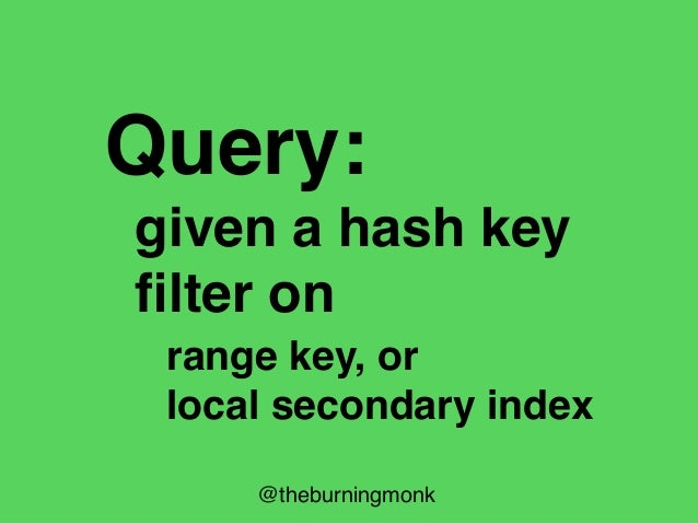 Hash Key Range Key Local Secondary Index Global Secondary Index