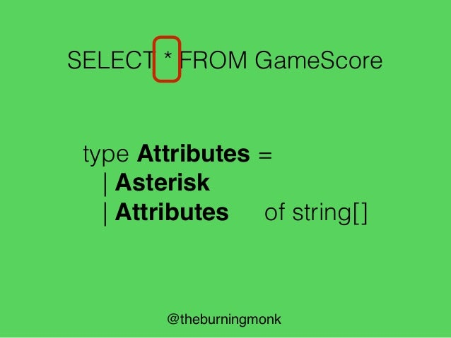 """@theburningmonk SELECT * FROM GameScore Parser for """"SELECT"""" keyword pSelect"""
