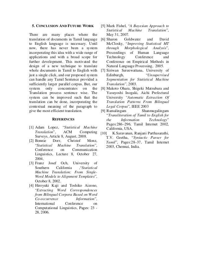 Tamil-English Document Translation Using Statistical Machine
