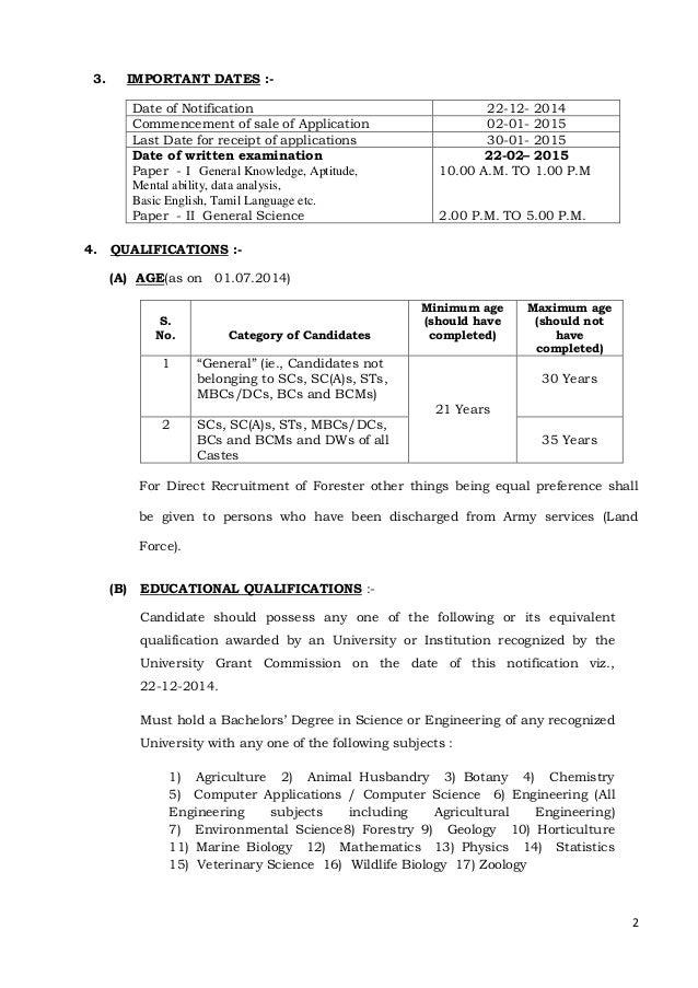 Tamilnadu forest department field assistance exam notification 2015 Slide 2