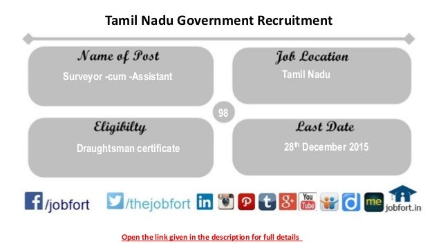 Open the link given in the description for full details Tamil Nadu Government Recruitment 98 Draughtsman certificate 28th ...