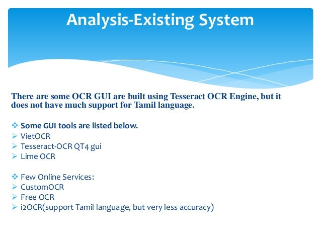 Tamil OCR using Tesseract OCR Engine
