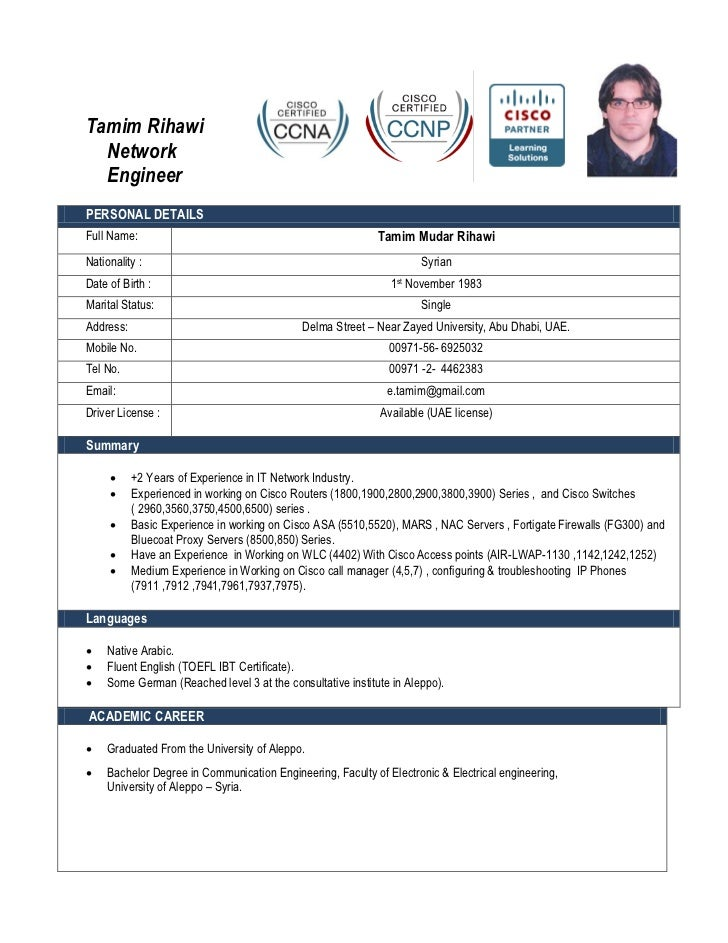 Tamim Rihawi Network EngineerPERSONAL DETAILSFull Name: ...  Ccna Resume