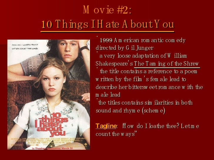 """comparison between the taming of the shrew and 10 things i hate about you essay We write essays this list of important taming of the shrew vs 10 things i hate about you quotations from """"taming of the shrew"""" by william shakespeare will help you work with the essay topics and thesis statements above by."""