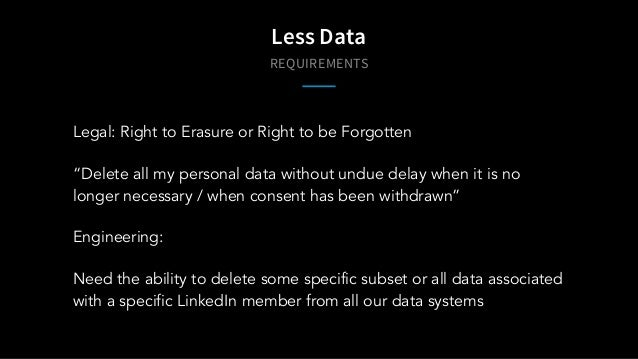 "REQUIREMENTS Less Data Legal: Right to Erasure or Right to be Forgotten ""Delete all my personal data without undue delay w..."