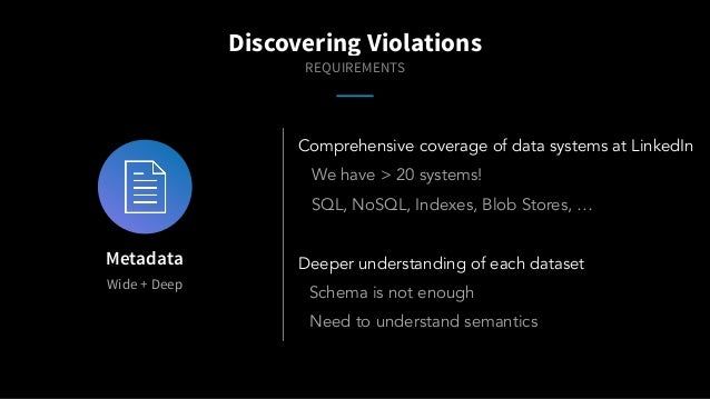Wide + Deep Metadata Comprehensive coverage of data systems at LinkedIn We have > 20 systems! SQL, NoSQL, Indexes, Blob St...