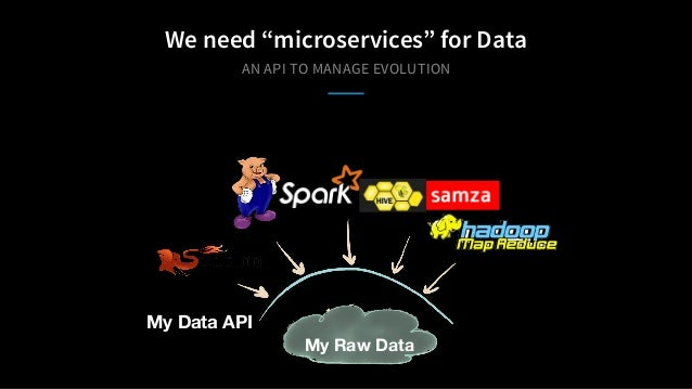 "AN API TO MANAGE EVOLUTION We need ""microservices"" for Data My Data API My Raw Data"