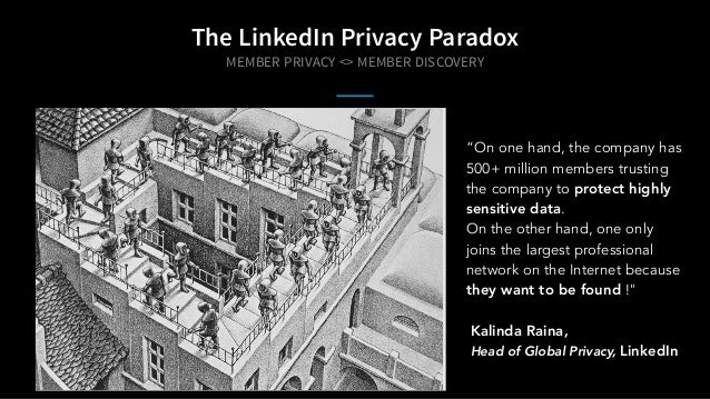 "The LinkedIn Privacy Paradox ""On one hand, the company has 500+ million members trusting the company to protect highly sen..."
