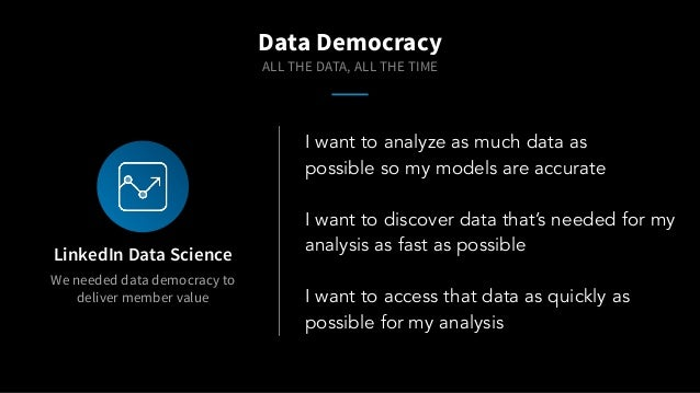 We needed data democracy to deliver member value LinkedIn Data Science I want to analyze as much data as possible so my mo...