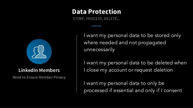 I want my personal data to be stored only where needed and not propagated unnecessarily Data Protection Need to Ensure Mem...