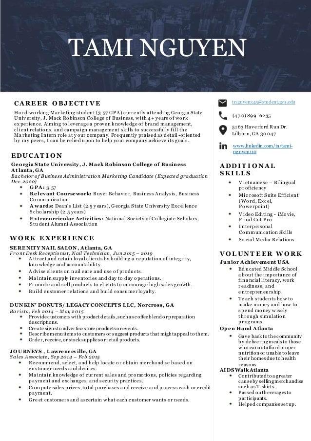 Georgia State Summer Classes 2020.Tami Nguyen Resume
