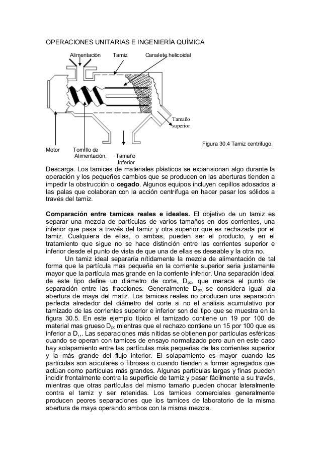 OPERACIONES UNITARIAS E INGENIERÍA QUÍMICA Alimentación Tamiz Canalete helicoidal Figura 30.4 Tamiz centrifugo. Motor Torn...