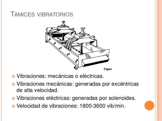 TAMICES VIBRATORIOS  Vibraciones: mecánicas o eléctricas.  Vibraciones mecánicas: generadas por excéntricas de alta velo...