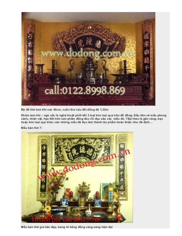 Bộ đồ thờ tam khí cao 45cm, cuốn thư câu đối đồng đỏ 1,35m Khảm tam khí – ngũ sắc là nghệ thuật phối kết 3 loại kim loại q...