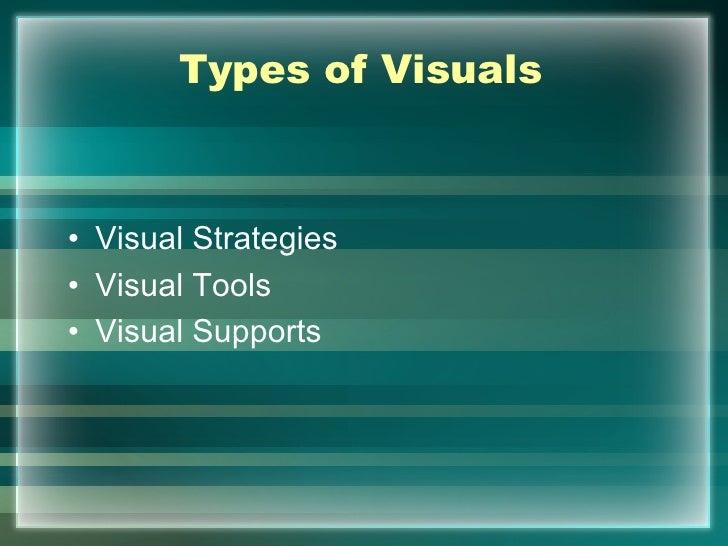 Types of Visuals• Visual Strategies• Visual Tools• Visual Supports