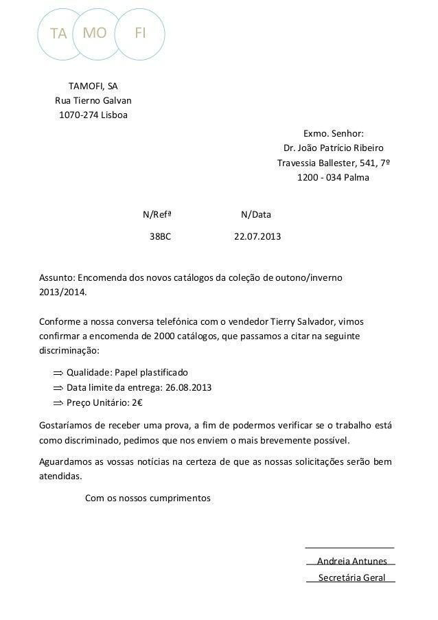 TA MO  FI  TAMOFI, SA Rua Tierno Galvan 1070-274 Lisboa Exmo. Senhor: Dr. João Patrício Ribeiro Travessia Ballester, 541, ...