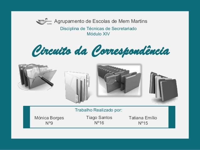 Agrupamento de Escolas de Mem Martins Disciplina de Técnicas de Secretariado Módulo XIV Trabalho Realizado por: Mónica Bor...