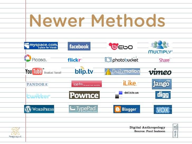 Newer Methods            del.icio.us                                            10              Digital Anthropology      ...