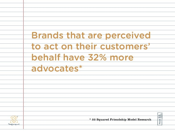 Brands that are perceived to act on their customers' behalf have 32% more advocates*                                      ...