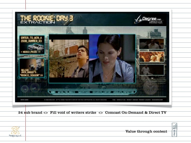 24 sub brand <> Fill void of writers strike <> Comcast On-Demand & Direct TV                                              ...