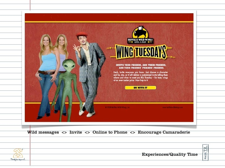 Wild messages <> Invite <> Online to Phone <> Encourage Camaraderie                                                       ...