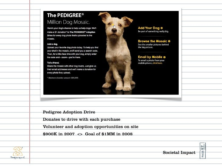 Pedigree Adoption Drive Donates to drive with each purchase Volunteer and adoption opportunities on site $900K in 2007 <> ...