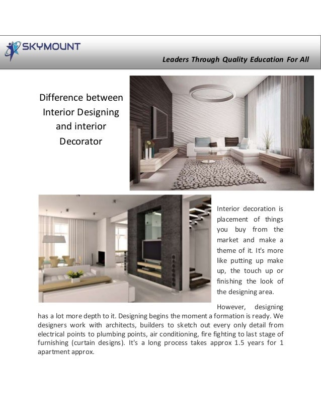 Difference Between Interior Design And Interior Decorator