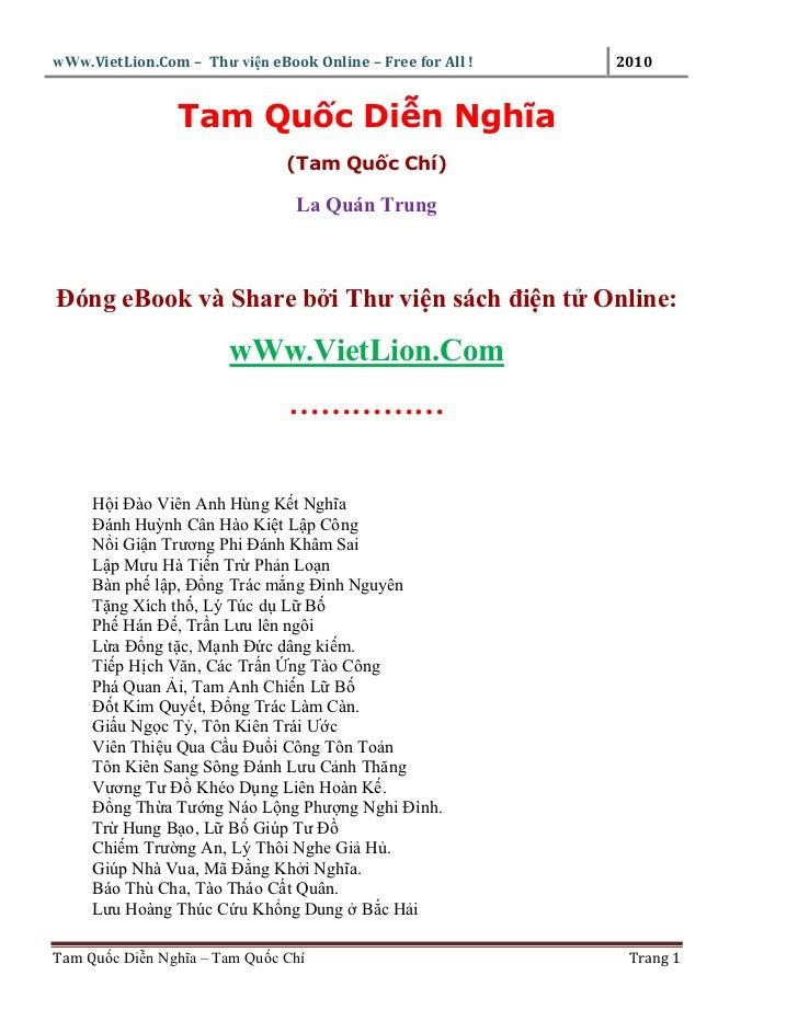 wWw.VietLion.Com – Thư vi n eBook Online – Free for All !   2010                Tam Qu c Di n Nghĩa                       ...