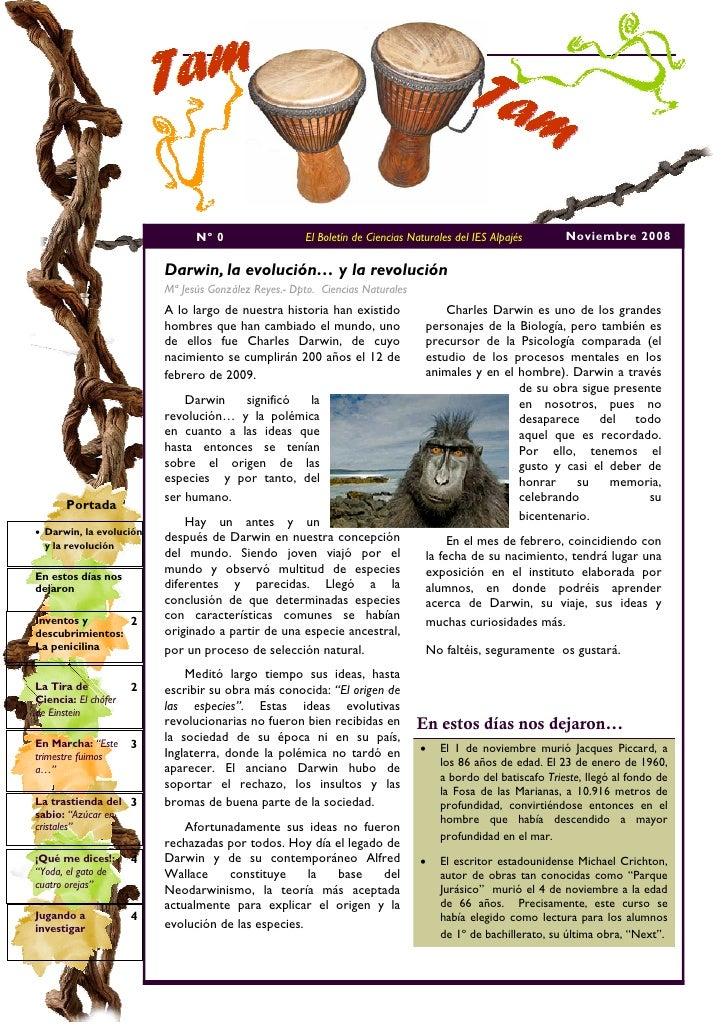 Nº 0                   El Boletín de Ciencias Naturales del IES Alpajés       Noviembre 2008                           Dar...