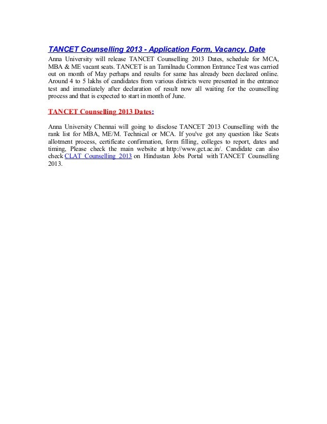 TANCET Counselling 2013 - Application Form, Vacancy, DateAnna University will release TANCET Counselling 2013 Dates, sched...