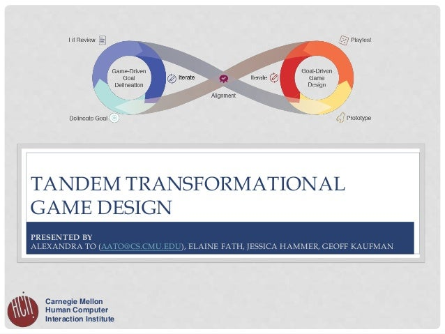 TANDEM TRANSFORMATIONAL GAME DESIGN Carnegie Mellon Human Computer Interaction Institute PRESENTED BY ALEXANDRA TO (AATO@C...