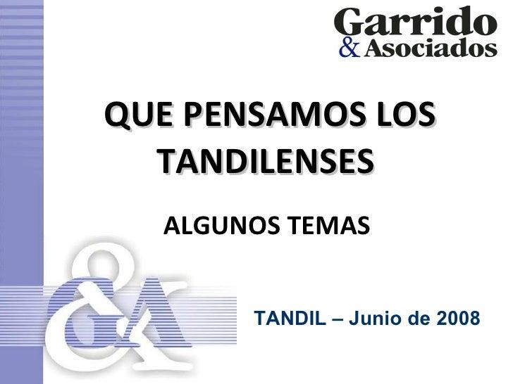 QUE PENSAMOS LOS TANDILENSES  ALGUNOS TEMAS  TANDIL – Junio de 2008