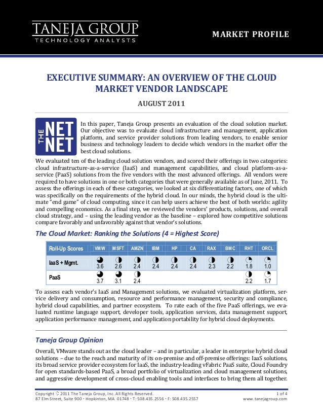 MARKET PROFILE     EXECUTIVE SUMMARY: AN OVERVIEW OF THE CLOUD              MARKET VENDOR LANDSCAPE                       ...