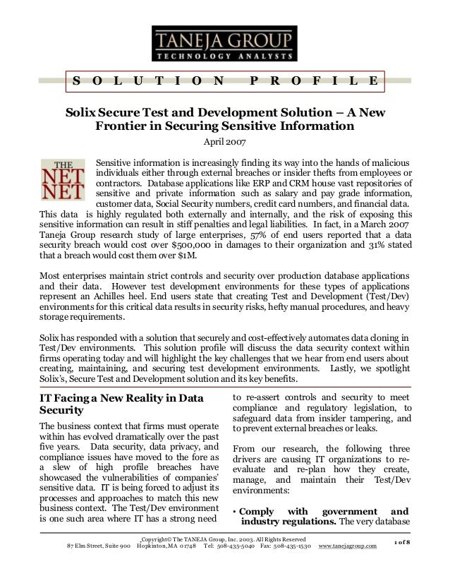 S  O  L  U  T  I O  N  P  R  O  F  I  L E  Solix Secure Test and Development Solution – A New Frontier in Securing Sensiti...