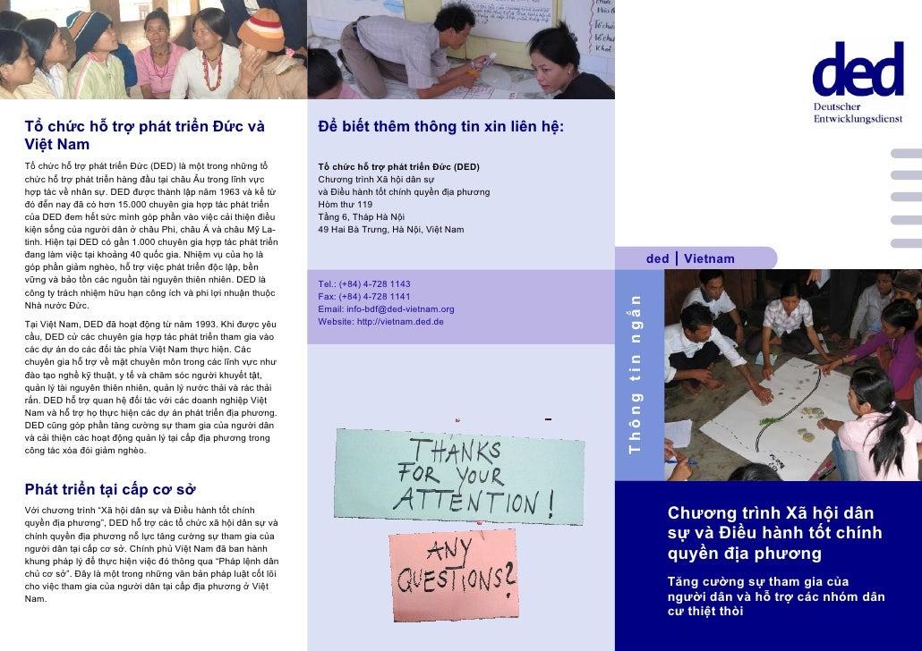 Tổ chức hỗ trợ phát triển Đức và                                Để biết thêm thông tin xin liên hệ: Việt Nam Tổ chức hỗ tr...