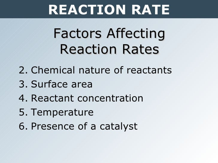 factors affecting rate of reaction Kinetics (sl) 61 rates of reaction rate of reaction is concerned with how quickly a reaction reaches a certain point factors affecting the rate of reaction.