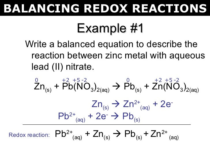 Balancing oxidation reduction reactions online dating 8