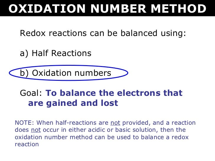 Oxidation numbers method of balancing redox reaction equations