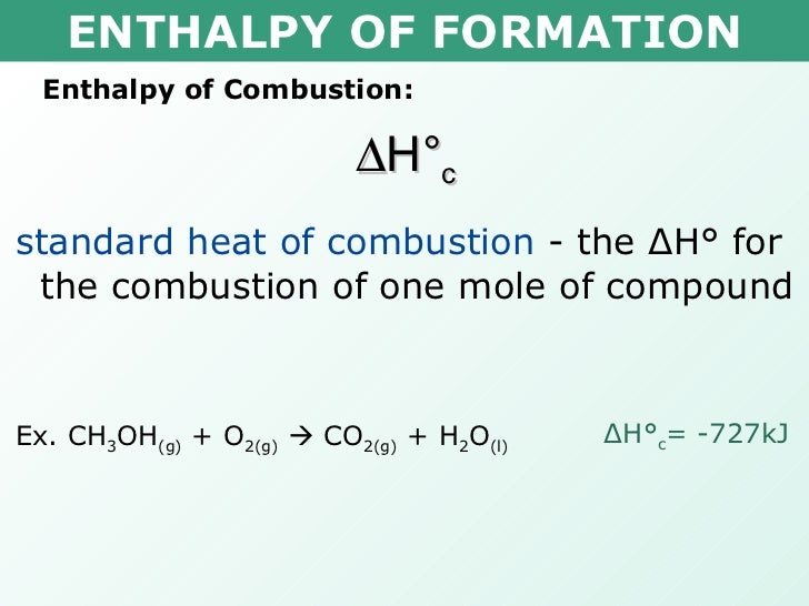 how to find change in heat of combustion
