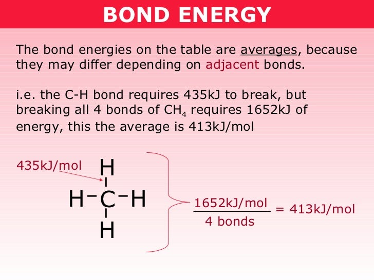 BOND ENERGY The bond energies on the table are  averages , because they may differ depending on  adjacent  bonds. i.e. the...