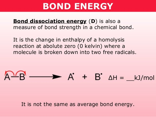 BOND ENERGYBond dissociation energy (D) is also ameasure of bond strength in a chemical bond.It is the change in enthalpy ...