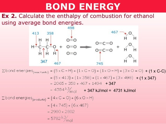 BOND ENERGYEx 2. Calculate the enthalpy of combustion for ethanolusing average bond energies.             347             ...
