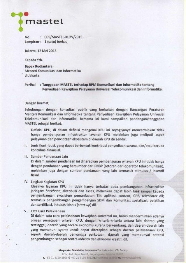 . .  O?  mastel NO '  Lampiran :   0O5/MASTEL-KU/ V/2015 1 (satu) berkas  Jakarta,  12 Mei 2015  Kepada Yth.   Bapak Rudia...