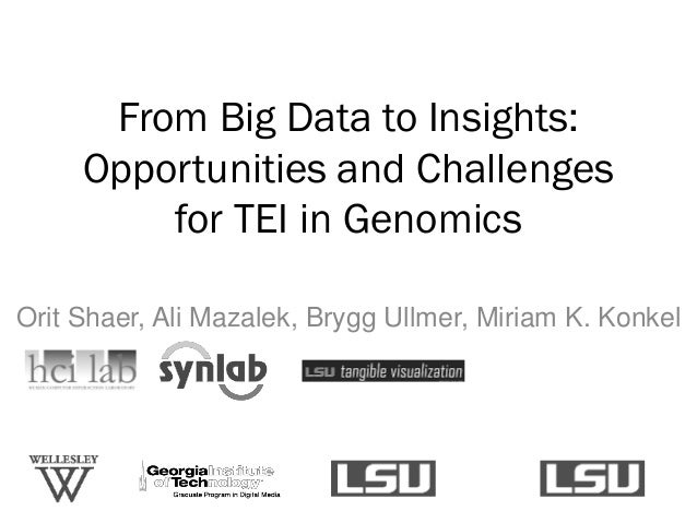 From Big Data to Insights: Opportunities and Challenges for TEI in Genomics Orit Shaer, Ali Mazalek, Brygg Ullmer, Miriam ...
