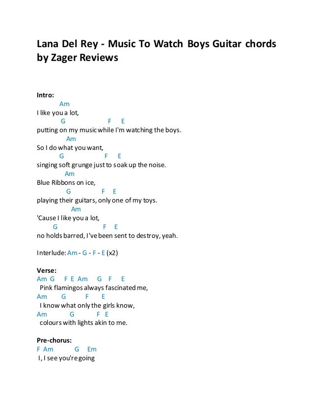 Lana Del Rey Music To Watch Boys Guitar Chords By Zager Reviews 1 638gcb1442897769