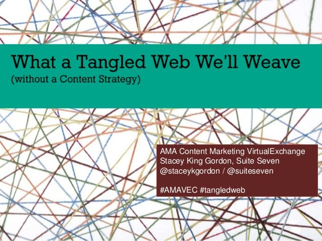 AMA Content Marketing VirtualExchange Stacey King Gordon, Suite Seven @staceykgordon / @suiteseven #AMAVEC #tangledweb
