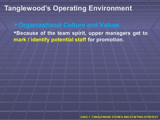 tanglewood stores and staffing strategy Tanglewood case study staffing quality, tangoed stores is wanting a specific workforce as the external consultant some of the staff strategies i would start with.