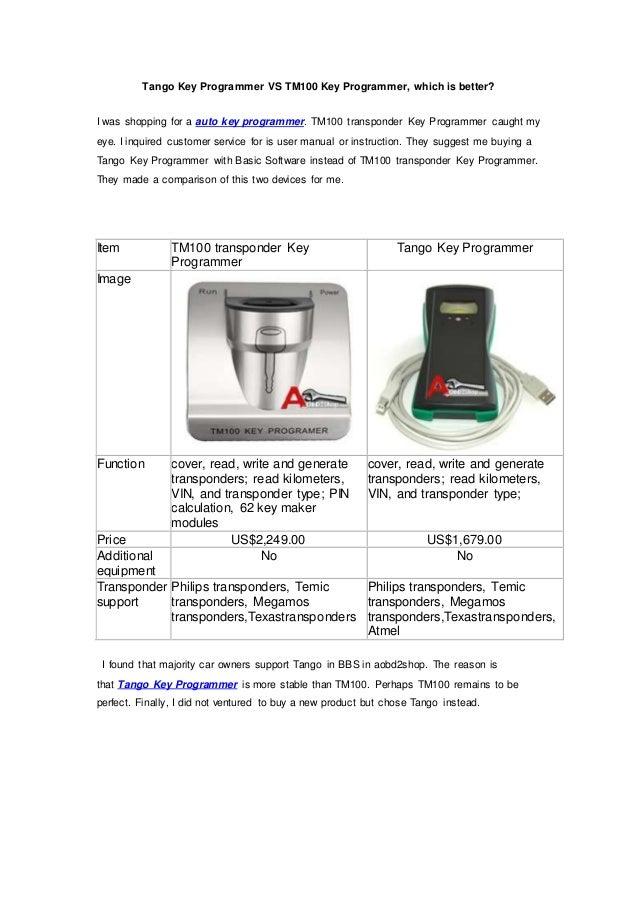 tango key programmer vs tm100 key programmer which is better rh slideshare net T300 Key Programmer Universal Car Key Programmer
